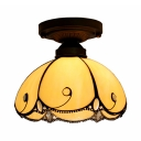 Tiffany Vintage Beige/Blue/Clear Flush Ceiling Light Domed Shade 1 Light Art Glass Ceiling Fixture for Stair
