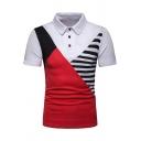 Mens Unique Color Block Striped Printed Short Sleeve Slim Fit Polo Shirt