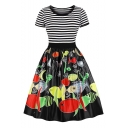 Trendy Striped Cartoon Fish Printed Round Neck Short Sleeve Midi Black Fit and Flared Dress