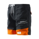 Summer New Fashion Color Block Letter Printed Sport Beach Shorts Athletic Shorts