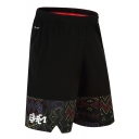 Popular Fashion Logo Printed Elastic Waist Loose Fit Black Running Sport Shorts