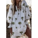 Summer Hot Fashion Simple Green Plant Printed V-Neck Lantern Long Sleeve Casual Loose Dress