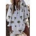 Summer Hot Fashion Simple Green Plant Printed V-Neck Lantern Long Sleeve Casual Loose Dress