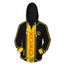 Funny Comic Letter XOXO Printed Long Sleeve Zip Up Sport Loose Black and Yellow Hoodie