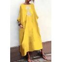 Womens Hot Fashion Vintage Round Neck Long Sleeve Maxi Linen Swing Dress