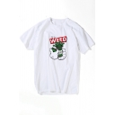 Funny Cartoon Weed Pattern Round Neck Short Sleeve White Casual Tee