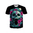Unique Cool Floral Skull Printed Round Neck Short Sleeve Black Tee