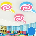 Metal Lollipop LED Flush Mount Light Cartoon Stepless Dimming/Third Gear/White Lighting Ceiling Light in Blue/Pink/Yellow