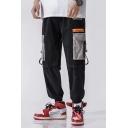 Trendy Colorblocked Buckle Strap Pocket Design Elastic Cuff Casual Loose Cargo Pants for Men