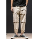 Men's Stylish Simple Solid Color Multi-pocket Design Drawstring Cuffs Casual Cargo Pants for Men