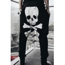 Men's Fashion Popular Skull Printed Drop-Crotch Drawstring Waist Casual Cotton Harem Pants