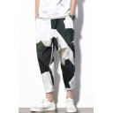 Summer Trendy Colorblock Printed White Cotton Loose Casual Tapered Pants for Men