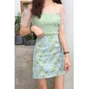Girls Summer Fancy Green Floral Printed Mini A-Line Skirt