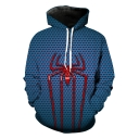 Cool Unique Blue Spider 3D Printed Long Sleeve Casual Loose Unisex Hoodie