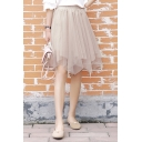 Summer Girls Simple Plain Elastic Waist Mini Flared Asymmetrical Tulle Skirt
