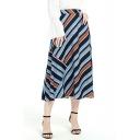 Summer Womens Trendy Striped Printed Chiffon Maxi Flowy Skirt