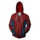 Trendy Blue and Red Spider Printed Long Sleeve Zip Up Sport Loose Hoodie