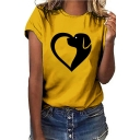 Unique Funny Cartoon Heart Shaped Dog Print Short Sleeve Round Neck Loose Fit T-Shirt