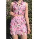 Girls Summer Fashion Pink Butterfly Printed Split Front Mini Bodycon Skirt