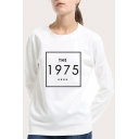 Fashion Simple Square Letter THE 1975 Print Crewneck Long Sleeve Casual Pullover Sweatshirt