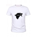Funny Wolf Head Letter Summer is Coming Print Basic Short Sleeve White Tee