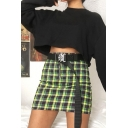 Summer Trendy Green Plaid Pattern Zipper-Fly Mini Bodycon Skirt
