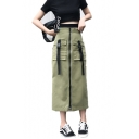 Girls Trendy Army Green Military Style High Rise Buckled Pocket Zipper Front Maxi Tube Skirt