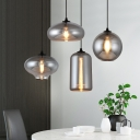 Smoke Mirror Glass Mini Hanging Light Contemporary 1 Bulb Suspension Lamp for Bar Cafe Restaurant