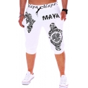 Fashion MAYA Letter Retro Printed Drawstring Waist Cotton Casual Sweat Shorts for Men