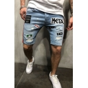 Men's Popular Fashion Letter Embroidery pattern Patched Destroyed Ripped Stretch Fit Light Blue Denim Shorts
