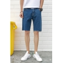 Summer Trendy Simple Plain Rolled Raw-edged Design Blue Casual Denim Shorts for Men
