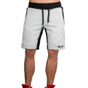 Men's Summer Trendy Colorblock Letter Printed Zipped Pocket Drawstring Waist Sports Sweat Shorts