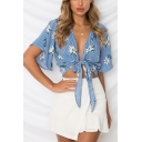 Summer Hot Fashion Blue Floral Striped Print Tied Front Holiday Cropped Blouse Top