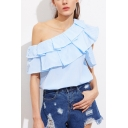Hot Popular Blue Striped Printed Chic Ruffled One Shoulder Blouse Top