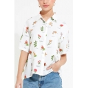 Summer Womens Hot Popular Allover Floral Printed Short Sleeve White Button Down Shirt