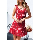 Hot Popular Summer Classic Red Polka Dot Print Bow-Tied Straps Open Back Mini A-Line Ruffled Dress