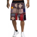 Stylish Colorblocked Geometric Pattern Casual Drawstring Beach Shorts Swim Trunk for Men