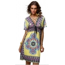 Fashion Ethnic Style Tribal Printed Plunging V-Neck Short Sleeve Midi Sheath Beach Dress