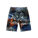 Summer Men's Big and Tall Quick Drying Drawstring Waist Beach Shorts Swim Trunks for Guys with Side Cargo Pocket