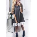 Hot Fashion Round Neck Long Sleeve Casual Loose Mini Ruffled Swing Dress