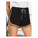 Unique Fashion Rainbow Striped Hem Drawstring Waist Sport Loose Dolphin Shorts for Women