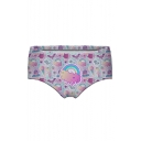 Funny Cartoon Ice Cream Rainbow Print Womens Pink Panty Shorts