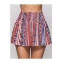 Summer Fashion Red Tribal Stripe Print Elastic Waist Culottes Shorts for Women