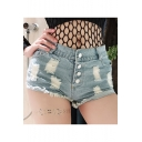 Womens Trendy Summer High Rise Destroyed Ripped Raw Hem Night Club Hot Pants Denim Shorts