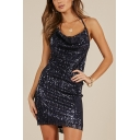 Womens Chic Royal Blue Halterneck Backless Mini Sequined Bodycon Cami Dress