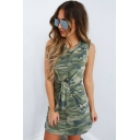 Womens Fashion Classic Camo Printed Round Neck Sleeveless Knotted Waist Mini Bodycon Tank Dress