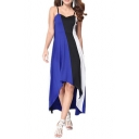 Womens Summer Hot Popular Colorblock Sleeveless Maxi Slip Dress