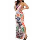 Womens Fancy Tribal Printed Sleeveless Sexy Split Side Maxi Bodycon Slip Dress