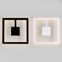 Metal Square Sconce Wall Light for Bedroom Modern Simple LED Wall Lamp in Black/White
