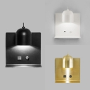 Metal Dome Shade Wall Light with Supporter Contemporary 1 Light Wall Lamp in Black/Gold/White